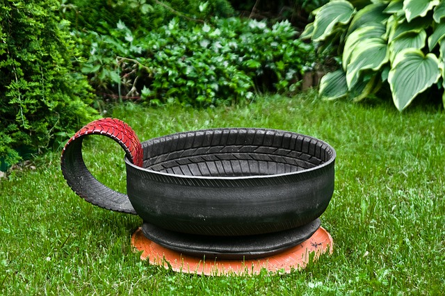 A pot that is sitting in the grass